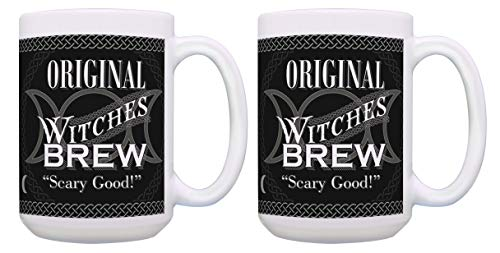 (Halloween Gifts Original Witches Brew Mugs Witch Gifts 2 Pack Gift 15-oz Coffee Mugs Tea Cups)