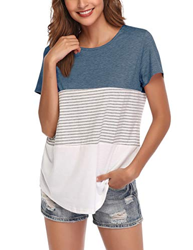 - AUPYEO Women's Short Sleeve T Shirt Round Neck Color Block Stripe Top Casual Blouse Grey Blue