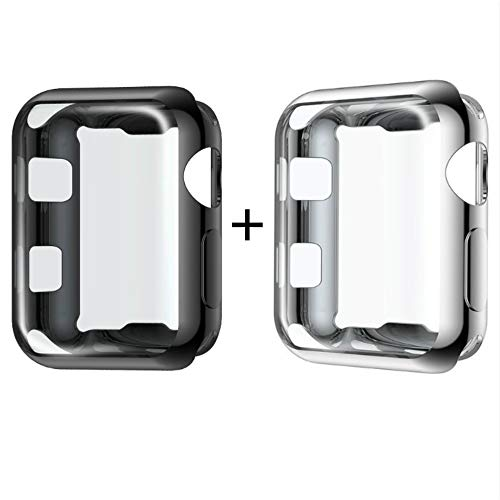 Meyicoo Compatible With Apple Watch 38mm Series 2 3 Screen Protector Case, Soft TPU Ultra-Thin Cover Overall Protective Cover Case Compatible for Iwatch Series 3 2 38mm(Black +Silver, Series 2/3 38mm)