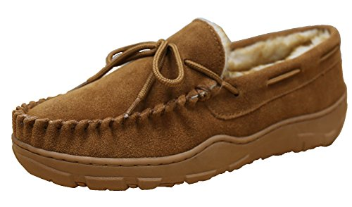 Tamarac by Slippers International Men's Utah Shearling Lined Moccasin (11 D(M) US, (Suede Hardsole Moccasins)