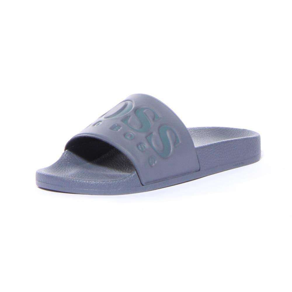 c5e8bc15b Galleon - Hugo Boss Men's Solar Dark Grey Slides Sandals Shoes Sz: 9