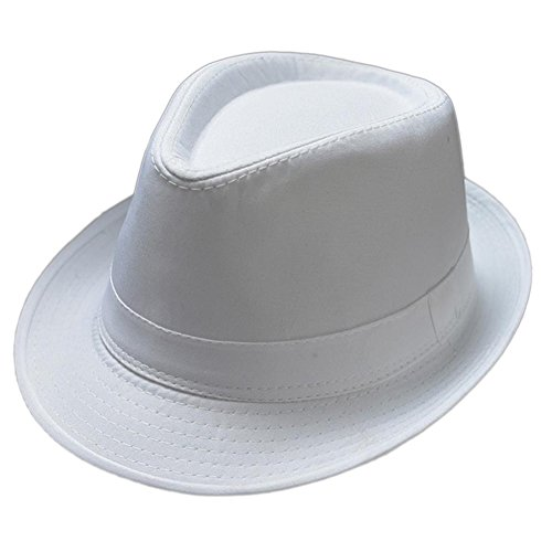 Freedi Men's Fedora Hat Classical Felt Jazz Cap Brim Costume Party Headwear (White) ()