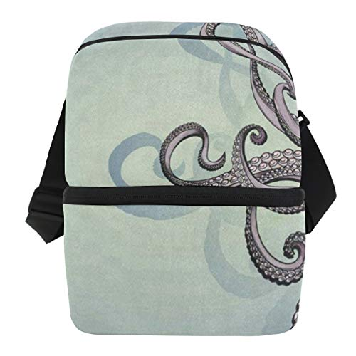 Lovexue Lunch Bag Fantasy Abstract Octopus Kraken Insulated Cooler Bag Mens Leakproof Refrigerator Organizer Zipper Tote Bags for Wine