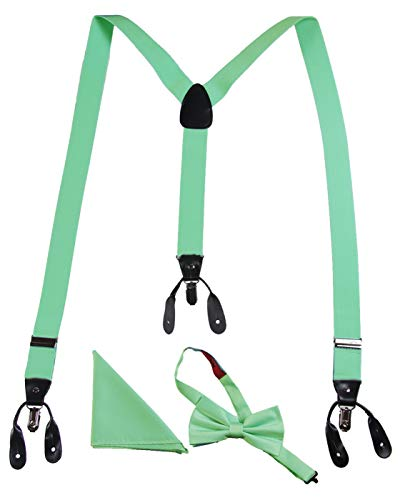 Adults Matching Boxed Suspender, Bow Tie, and Pocket Handkerchief Sets (Mint)