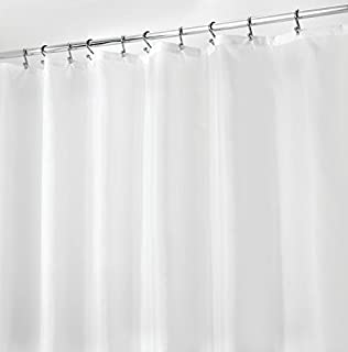 MDesign Mildew Resistant, Water Repellent Fabric Shower Curtain Liner With  Weighted Magnetic Hem