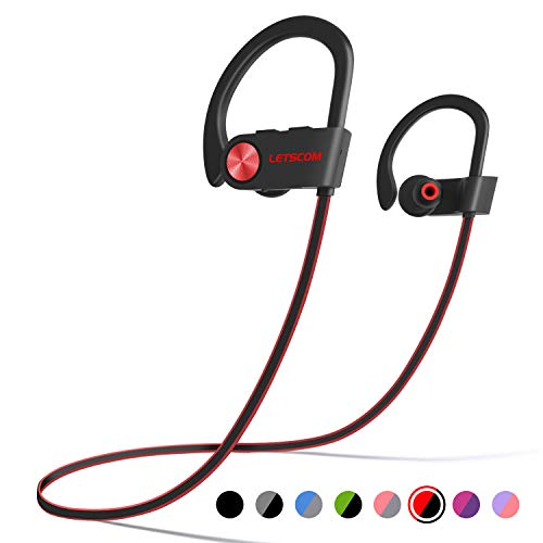 LETSCOM Bluetooth Headphones IPX7 Waterproof, Wireless Sport Earphones Bluetooth 4.1, HiFi Bass Stereo Sweatproof Earbuds w/Mic, Noise Cancelling Headset for Workout, Running, Gym, 8 Hours Play ()