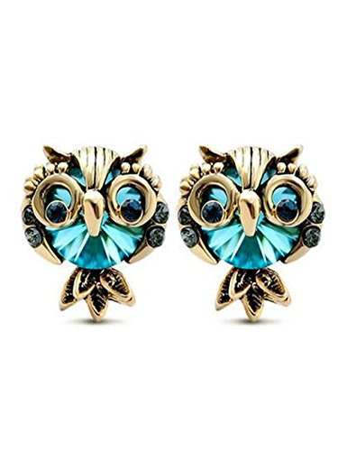 Trifari Clear Rhinestone (LNKRE JEWELRY Women's Cute Owl Rhinestone Gemstone Stud)
