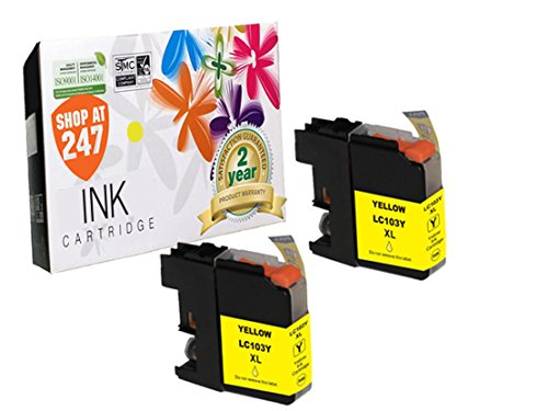 Compatible Brother LC103Y/LC101Y (XL Series) High Yield ink cartridge replacement for Brother DCP-J152W, MFC-J245,J285DW,J450DW,J470DW,J475DW,J650DW,J870DW,J875DW color inkjet 2 pc LC103/LC101 Yellow