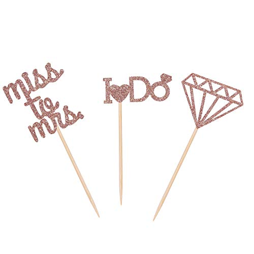 Bridal Shower Cupcake Toppers Miss to Mrs I Do Diamond Engagement Party Picks - Rose Gold - 24 Counts