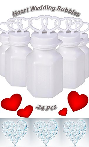 Double Heart Wedding Party Favor Bubbles, Great For Weddings, Celebrations, and Anniversaries, 24 Value Pack, By 4E's Novelty, (Favors Novelty Wedding)