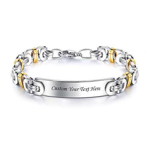 LMXXV Inspirational Encouragement Motivation Bracelet 2 Tone Stainless Steel Byzantine Chain Bracelet Wristband Unisex