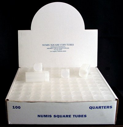 Box of 100 Numis Coin Tubes for Quarters