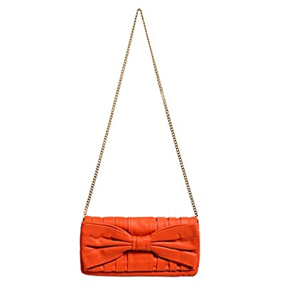 Red Valentino Women's Orange 100% Leather Bow Decorated Clutch Shoulder Bag