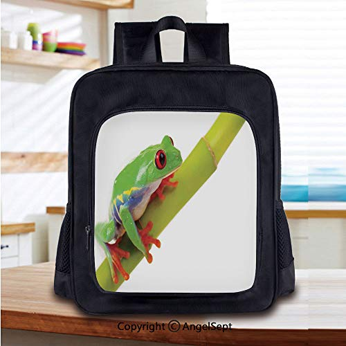 School Backpack,Cute Little Tree Frog Sitting on the Branch Native Animals in American Wilds Photo School Bags Student Stylish Book Bag Daypack for Little Boys and Girls,Green White Red