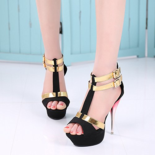 Wealsex Womens Ladies High Heel Platform T-Strap Peep Toe Suede Sandals Stiletto Ankle Strap Buckle Dress Party Bridal Wedding Court Shoes Size UK 2.5-6.5 Black is4Vssn3