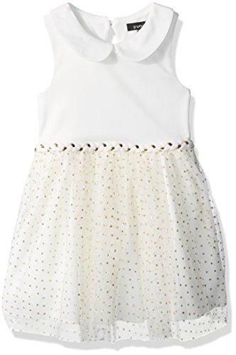 ZUNIE Big Girls' Peterpan Collar Ponte Top W/Glitter Mesh Tulle Skirt Dress, Ivory/Gold, 8