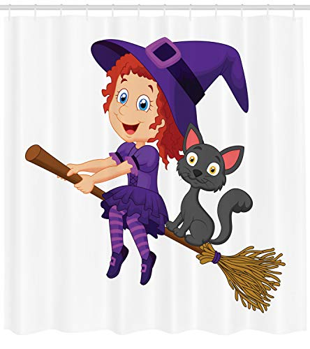 Lunarable Witch Shower Curtain, Cute Happy Girl with Funny Cat Celebration Costume Joyful Party Halloween Childhood, Fabric Bathroom Decor Set with Hooks, 84 inches Extra Long, Multicolor