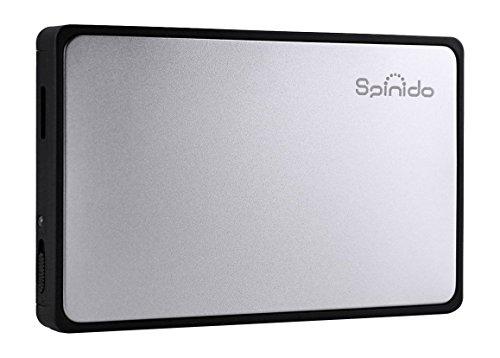 Spinido Hard Disk Enclosure Support UASP SATA III USB 3.0/2.0 Aluminum External Tool-Free Box Mobile Device Optimized 2.5
