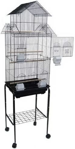 Amazon Com Mcage Large Pagoda House Canary Parakeet Cockatiel Lovebird Finch Bird Cage With Stand 18 X14 X64 Pet Supplies