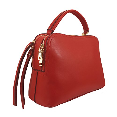 'donna' Designer Inspired Red Top Handle Handbag By Inzi In-6697pk