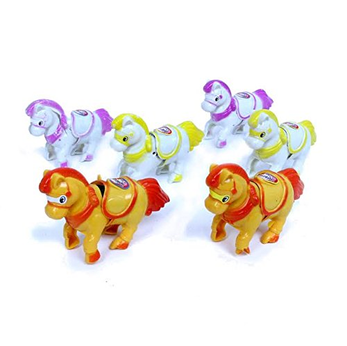 Dazzling Toys Horses Wind-up Animals Pack of 6 - Wind Them up and Watch Them Trot Across the Room!! - Horses Fun Pack