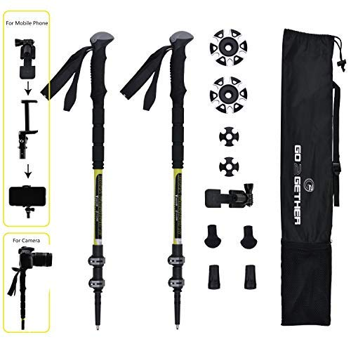 (G2 GO2GETHER Trekking Poles Telescopic Monopod Camera Mount Built-in/Smart Phones Holder Attached / 3 Sections/Quick Flip Lock / 25-55 inches (2)