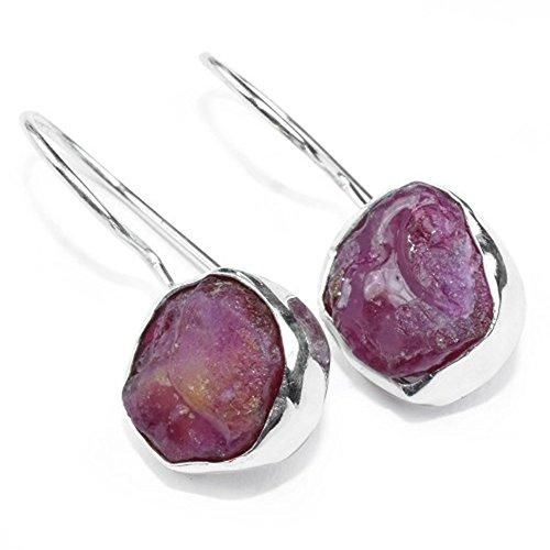 (Handmade Raw Ruby Gemstone Bezel Set Silver Plated Dainty Hook Earrings)