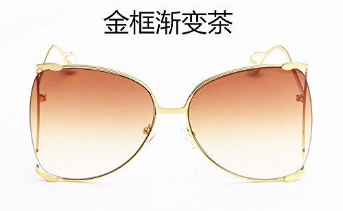 JUNHONGZHANG Moda De Sol De Ceniza Señoras Metal Gafas De Marco Té Gradiente Dorado Gafas Sol Decorativas Gafas gradual Marco Gran De De De Cuadradas De Gafas De Sol marco dorado de De Sol De r6nrgxtZq