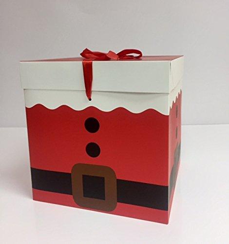 dalbags - Lote de unidades 2 cajas regalo Navidad completo de cordones color con fondo rojo dibujo Muñeco de nieve y varios dibujos Navidad formato30 X 30 X ...