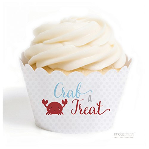 - Andaz Press Sail Away Nautical Birthday Collection, Crab a Treat Cupcake Wrappers, 20-Pack