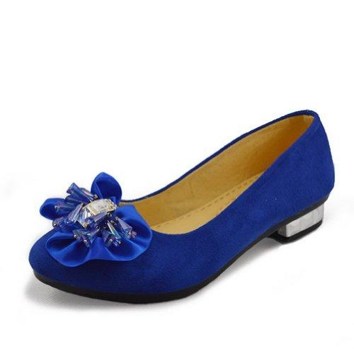 Amoonyfashion Femme Orteil Fermé-orteil Talon Bas Pompes-chaussures Avec Semelles En Caoutchouc Et Metalornament Bleu