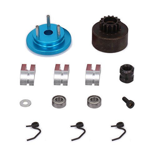 HobbyCrawler RC Nitro Engine Clutch Bell 14T Gear Flywheel Assembly Shoes Spring Kits for 1/8 Scale HPI HSP Redcat Traxxas Axial XTR Model Car Upgrade Parts (Blue)