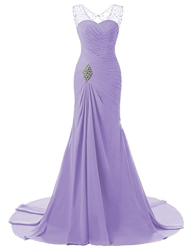 Lily Wedding Womens Mermaid Prom Bridesmaid Dresses 2018 Long Evening Formal Party Ball Gowns FED003 Lavender Size16