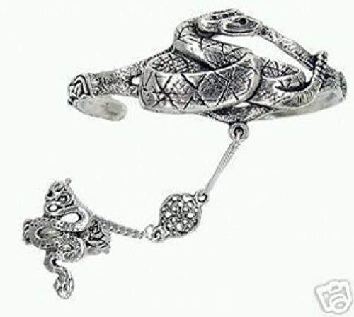 Pewter Slave Bracelet - Melonie Home Celtic Snake Slave Bracelet & Ring - Lead Free Pewter - Adjustable SCA Garb