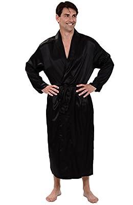 Alexander Del Rossa Mens Satin Solid Color Robe, Long Lightweight Loungewear