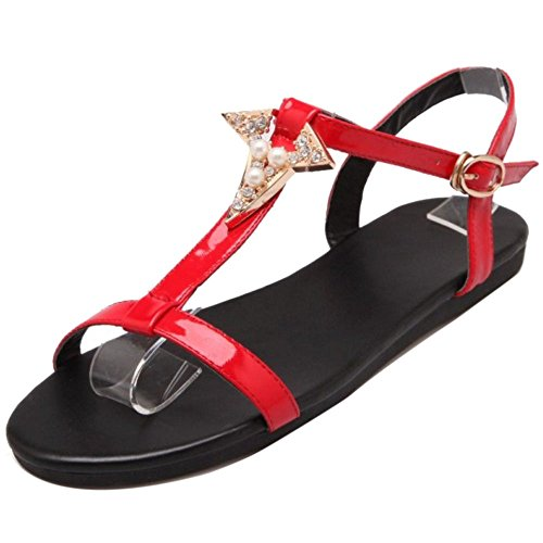 Flat Red T Strap TAOFFEN Fashion Asian 32 Sandals Women Shoes Size Y47PU7