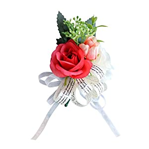 Baoblaze Wedding Party Boutonniere Corsage Silk Flower Bridal Rose Corsage Decor 13