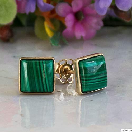 14k Stud Malachite - 14K Gold Malachite Studs Earrings - 14K Solid Yellow Gold Studs, 6x6mm Square Natural Stone, Genuine Dark Green Malachite Gemstone, Simple Minimalist Dainty Handmade Jewelry for Classy Women