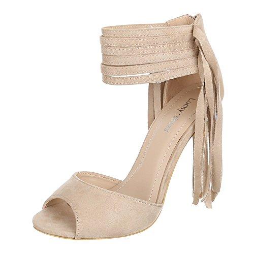 Ital-Design - Zapatos de vestir de Material Sintético para mujer 37 Beige - beige