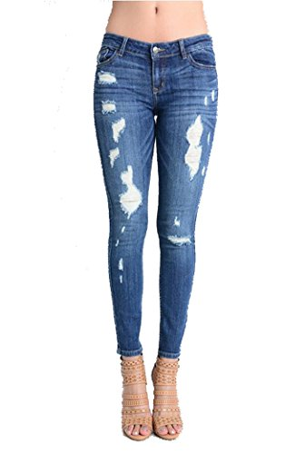 Eunina Women's Low-Rise Stretch Skinny Ankle Jeans Distress Medium Blue (XX-Large, Riley MD)