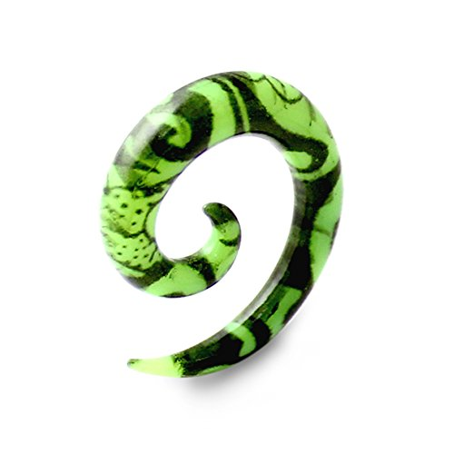 12 Gauge - 2MM Fantasy Green Vine Colorful Acrylic Spiral Tapers Ear Plug