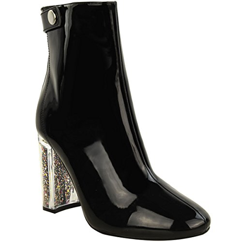 New Womens Ladies Ankle Boots Glitter Perspex Block High Heel Fashion Shoes Size black patent bUqP6