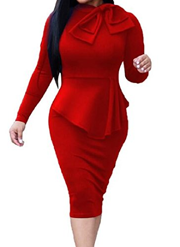 Color Pure Crew Coolred Dress Red Sleeve Strappy Women Long Neck Bodycon qTBqZIXx