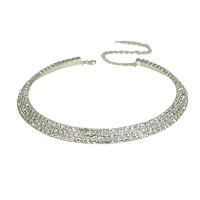 Bling Bling Stunning Triple Row Diamante Choker with extender TFEStoy0p