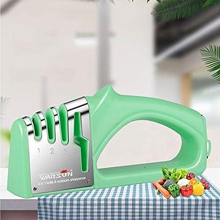 WARSUN Afilador de Cuchillos, 4 en 1 Profesional Knife Sharpener Manual de 3 Etapas, Base de Acero Inoxidable Antideslizante para Cocina,Afilar Navajas y Tijeras de Embotados Muy Afilados Cuchillo