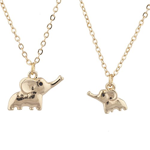 Price comparison product image Lux Accessories Gold Tone Big Sis Lil Sis Elephant Novelty Necklace Set 2PC