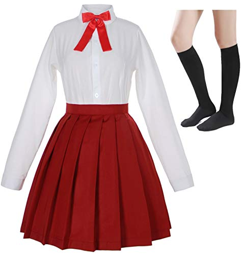 Japanese School Girls Sailor JK Uniform White Red Pleated Skirt Anime Cosplay Costumes with Socks Set(SSF32) XL (Red Japanese School Uniform)