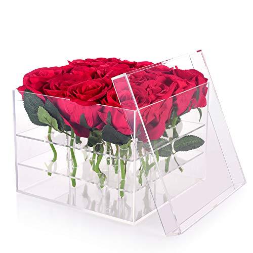Wefond Clear Acrylic Flower Box Water Holder Vase Decorative Square Rose Pot Wedding Flower Gift Box Makeup Organizer (16 Holes)