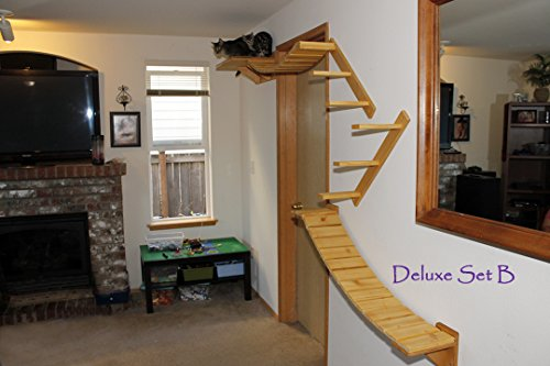 Cat Tree Modular Wall Mounted Climbing Furniture Shelves, Bridges and