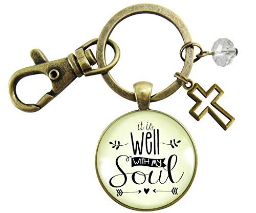Charm Get Well (Christian Keychain It Is Well With My Soul Vintage Life Of Faith Jewelry For Women Cross Charm Encouragement Gift)